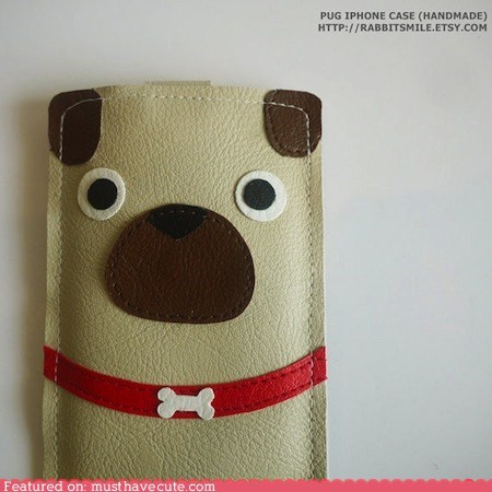 case,cell phone,dogs,handmade,iphone,pug