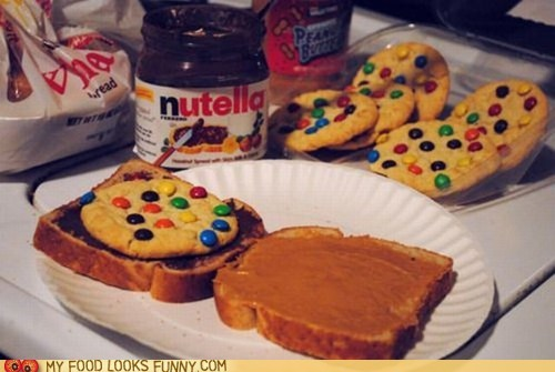 bread,cookies,nutella,peanut butter,sandwich