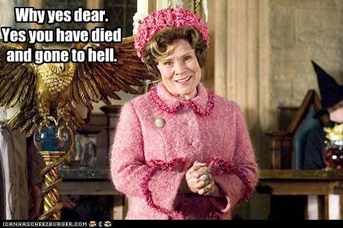 Delores Umbridge,died,Harry Potter,hell,imelda staunton,scary