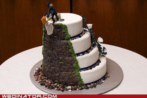 cake toppers,climbing,funny wedding photos,rock climbing,wedding cakes