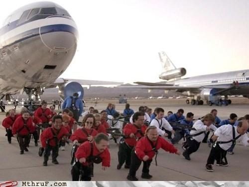 airline,airways,bankrupt,dwarfs,Hall of Fame,midgets,pulling