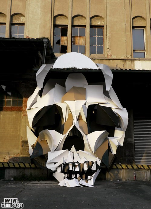 hacked irl,memento mori,paper,skull,Street Art