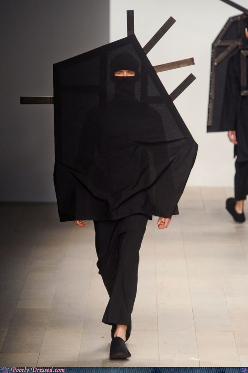 black,burkha,costume,kite,odd,runway,weird
