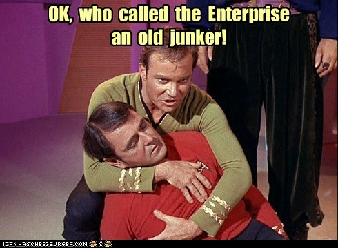 Captain Kirk,enterprise,fainting,james doohan,junker,scotty,Shatnerday,Star Trek,William Shatner