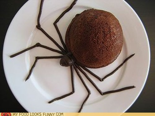 chocolate,dessert,mousse,plate,scary,spider
