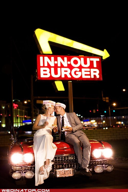 bride,fast food,funny wedding photos,groom,in-n-out burger