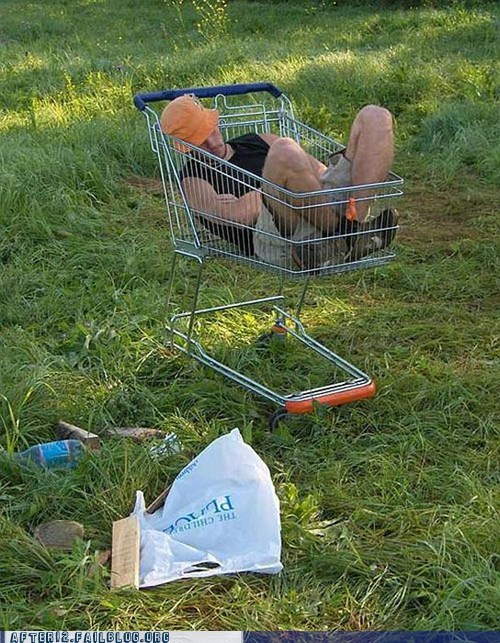long night,passed out,shopping cart,what