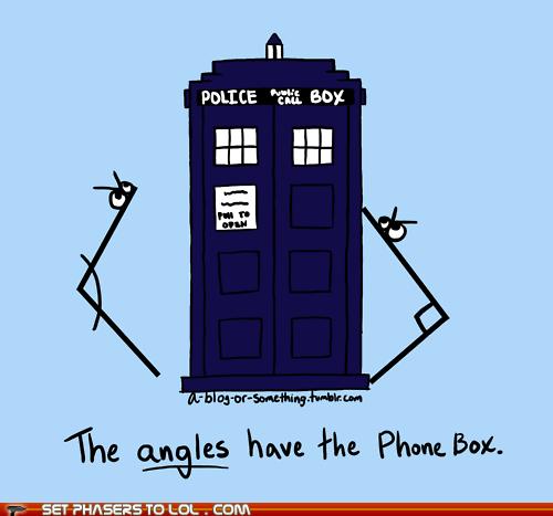 Angles,doctor who,phone box,pun,tardis,weeping angels