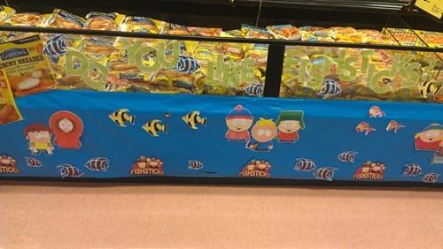 fishsticks,grocery store,joke,pun,South Park
