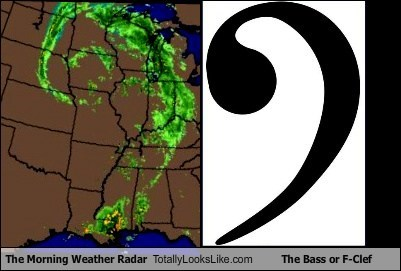 The Morning Weather Radar Totally Looks Like The Bass or F-Clef