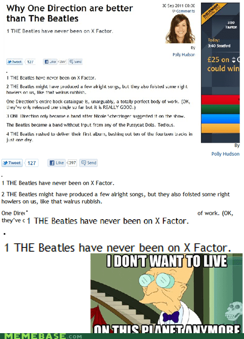 beatles,i dont want to live on this planet anymore,one direction,talent,x factor