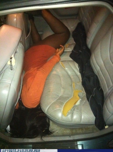 car,long night,passed out,upholstery,whoops