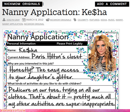 Ke$ha's Nanny Application
