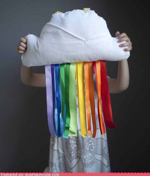 Cloud & Ribbon Rainbow Pillow