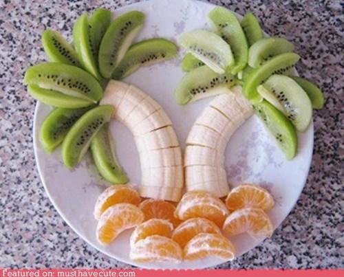bananas,best of the week,epicute,fruit,kiwis,oranges,palm trees,plate,snack