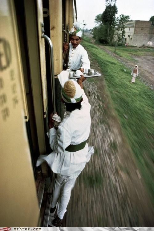 dangerous,food,india,passing food,server,train