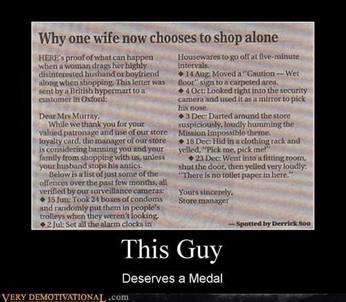 hilarious,jerk,medal,shopping,this guy