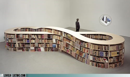 best of the week,bookcase,books,infinity symbol,loop,shelves