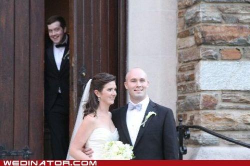bride,funny wedding photos,groom,photobomb