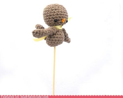 Amigurumi,bird,brown,Crocheted,ribbon,stick,yellow