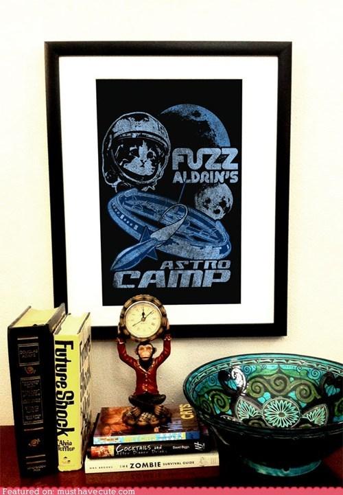 cat,fuzz aldrin,moon,print,space camp,spaceship