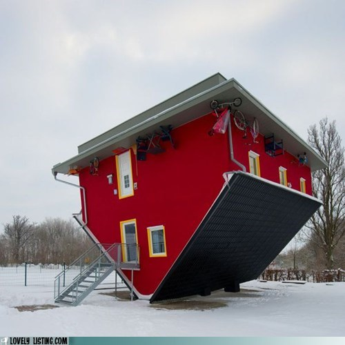 house,snow,upside down,weird