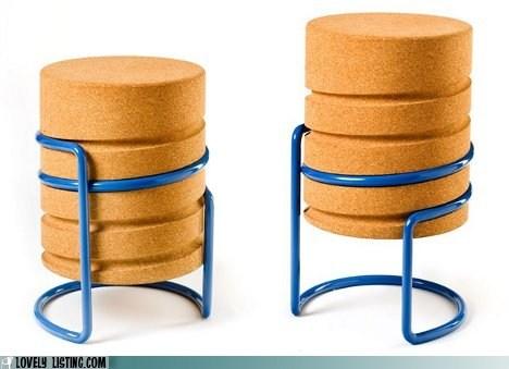 cork,metal,screw,stool