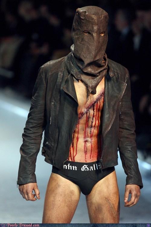 fashion,leather mask,runway,runway fashion,scar,scary