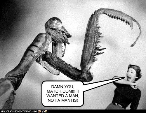 DAMN YOU, MATCH.COM!!!  I WANTED A MAN, NOT A MANTIS!