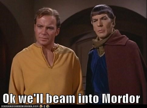 beam,Captain Kirk,Leonard Nimoy,Shatnerday,Spock,Star Trek,walk into mordor,William Shatner