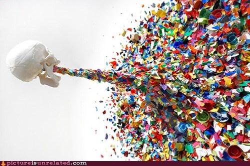 art,rainbow,skull,vomit,wtf