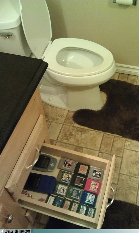 bathroom,drawer,games,handheld,toilet,video games