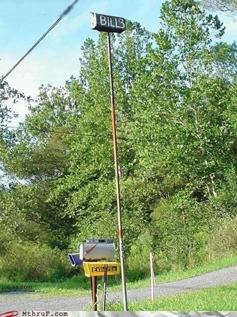 bills,high mailbox,high pole,high post,mailbox