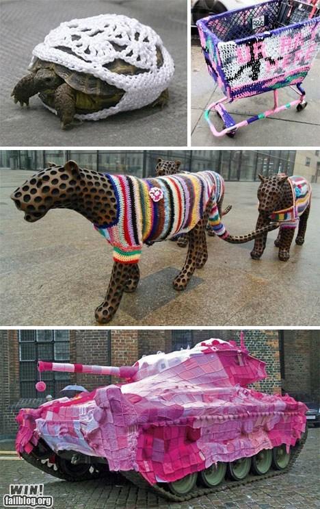 animals,Knitta Please,knitting,sweater,yarn,Yarn Bomb