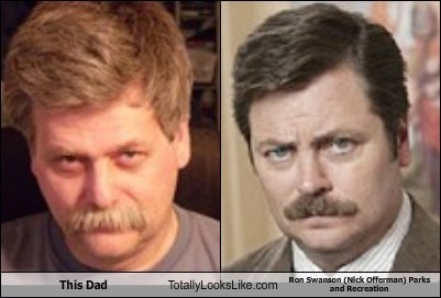 This Dad Totally Looks Like Ron Swanson (Nick Offerman) Parks and Recreation
