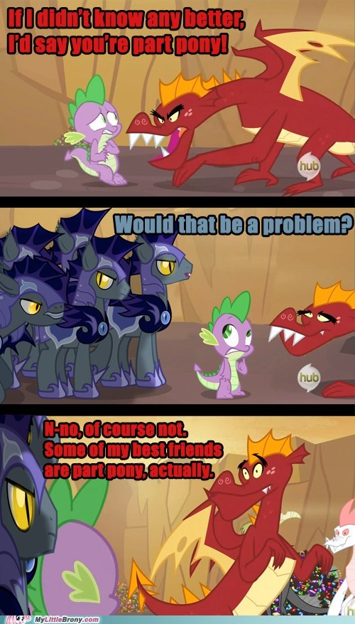 comic,comics,dats wacist,dragons,pony,problem,some of my best friends,spike