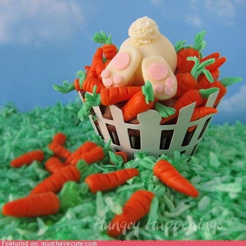 butt,carrots basket,cupcake,epicute,fondant,rabbit