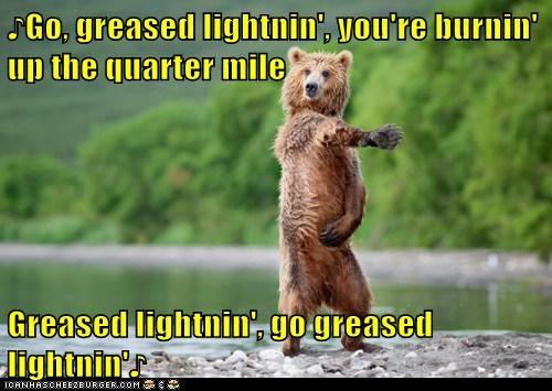 bear,dance,grease,lightning,Music,musical,sing,song