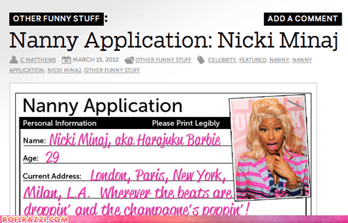 Nanny Application: Nicki Minaj