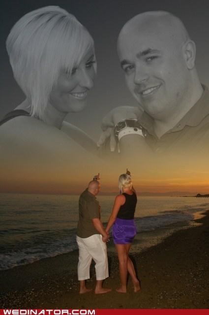 beach,couples,engagement photos,funny wedding photos,photoshop