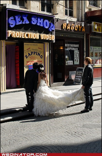 bride,city,funny wedding photos,groom,sex shop