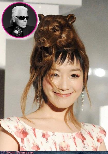 bear,cat,creepy,dress,east asian,hair,hairdo,smile,tiger,wig
