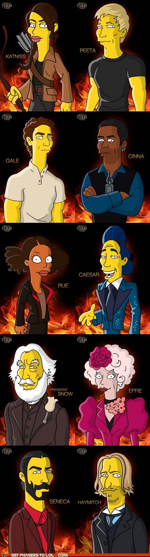 cartoons,characters,cinna,effie trinket,gale,hunger games,katniss,Movie,peeta,president snow,rue,simpsons