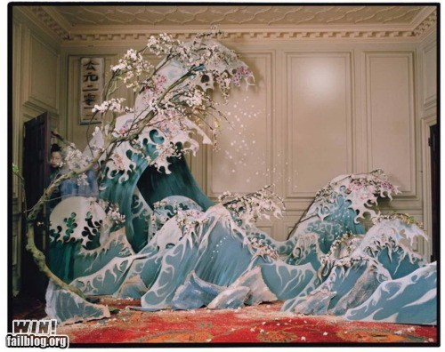 art,hokusai,installation,paper,wave