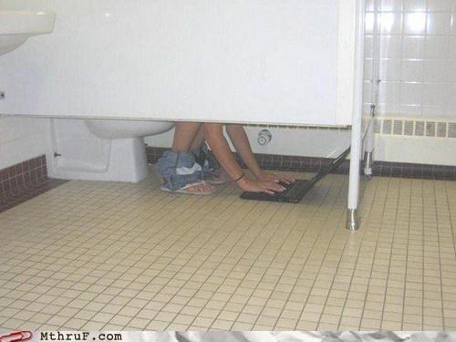 bathroom,floor,girl,laptop,Multitasking,restroom