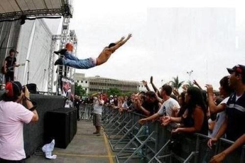 concert,jump,live,stage dive,stage diving