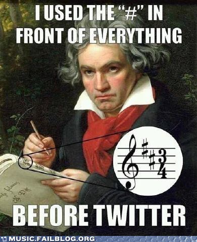 Beethoven,classical,hash tag,key signature,sharp,tweet,twitter