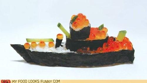 art,battleship,eggs,nori,rice,sculpture,sushi,WWII