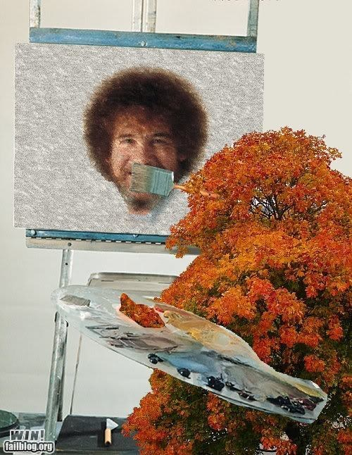 bob ross,happy little tree,painting,photoshop,weird