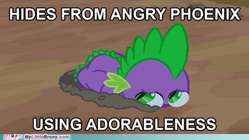 adorable,best pony,dragon,phoenix,scared,spike,TV